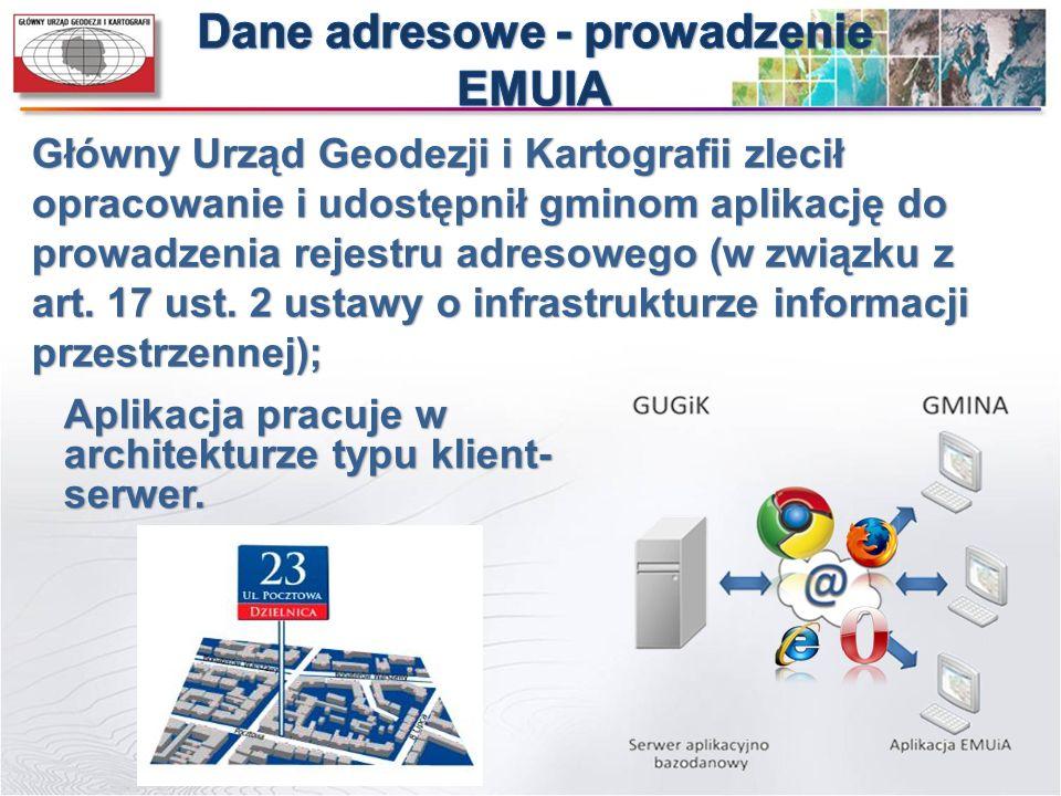 Główny Urząd Geodezji i Kartografii zlecił opracowanie i udostępnił gminom aplikację do prowadzenia rejestru adresowego (w związku z art. 17 ust. 2 us