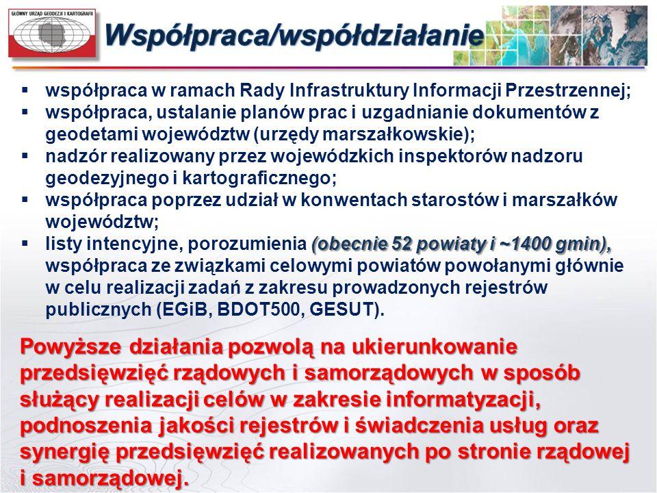  współpraca w ramach Rady Infrastruktury Informacji Przestrzennej;  współpraca, ustalanie planów prac i uzgadnianie dokumentów z geodetami województ
