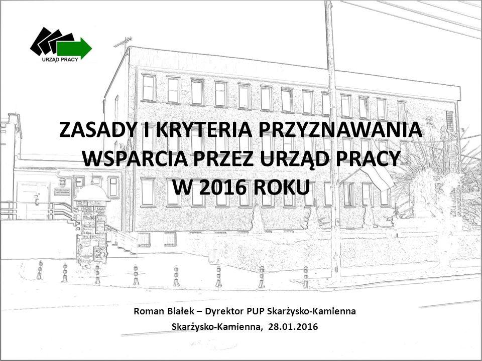 ZASADY I KRYTERIA PRZYZNAWANIA WSPARCIA PRZEZ URZĄD PRACY W 2016 ROKU Roman Białek – Dyrektor PUP Skarżysko-Kamienna Skarżysko-Kamienna, 28.01.2016