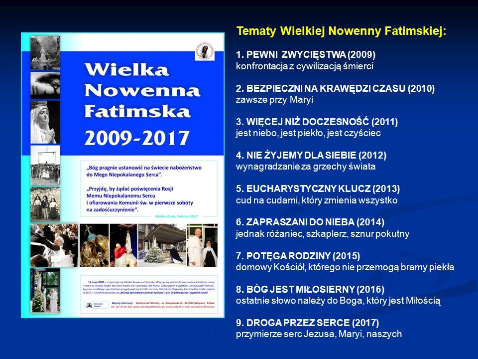 Tematy Wielkiej Nowenny Fatimskiej: 1. PEWNI ZWYCIĘSTWA (2009) konfrontacja z cywilizacją śmierci 2. BEZPIECZNI NA KRAWĘDZI CZASU (2010) zawsze przy M