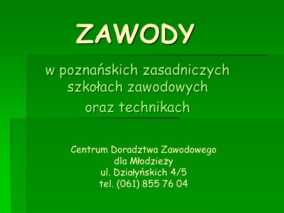 ZAWODY w poznańskich zasadniczych szkołach zawodowych oraz technikach Centrum Doradztwa Zawodowego dla Młodzieży ul. Działyńskich 4/5 tel. (061) 855 7