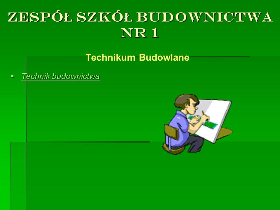 ZESPÓ Ł SZKÓ Ł BUDOWNICTWA NR 1  Technik budownictwa Technikum Budowlane