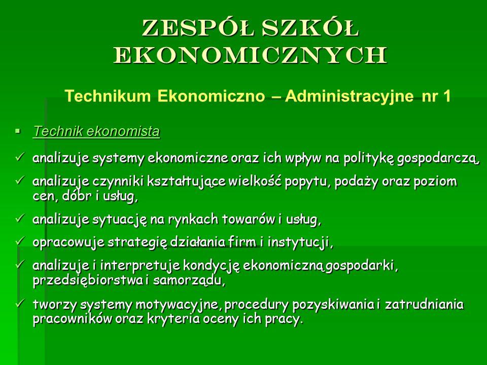 ZESPÓ Ł SZKÓ Ł EKONOMICZNYCH  Technik ekonomista analizuje systemy ekonomiczne oraz ich wpływ na politykę gospodarczą, analizuje systemy ekonomiczne