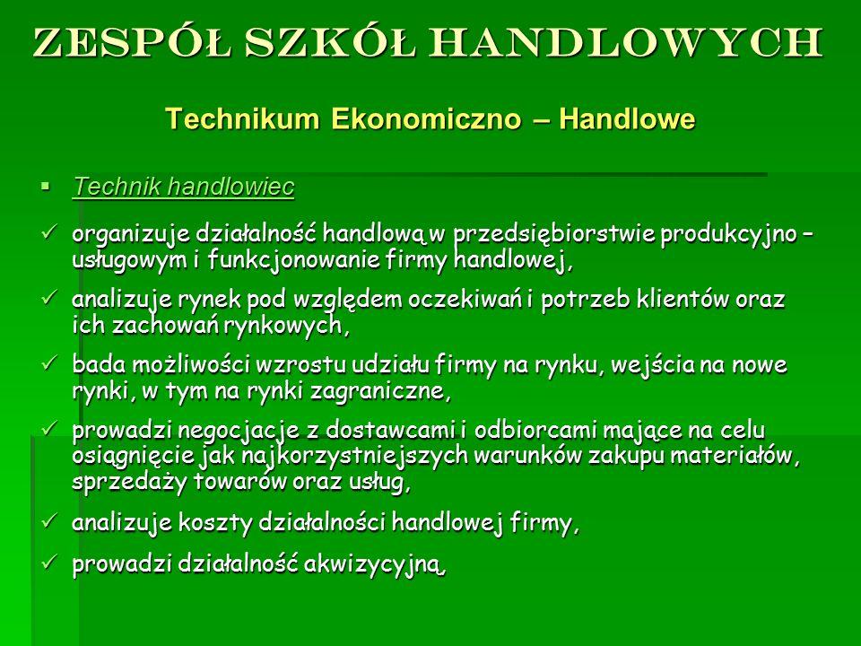 ZESPÓ Ł SZKÓ Ł HANDLOWYCH Technikum Ekonomiczno – Handlowe TTTTechnik handlowiec organizuje działalność handlową w przedsiębiorstwie produkcyjno –