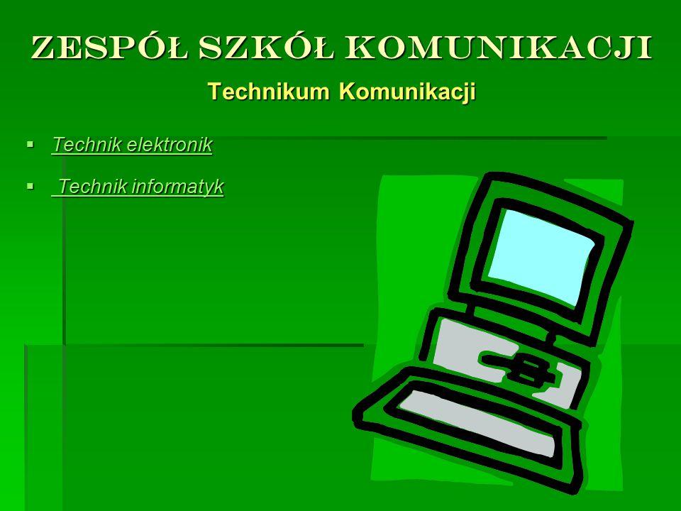 ZESPÓ Ł SZKÓ Ł KOMUNIKACJI Technikum Komunikacji TTTTechnik elektronik  T T T Technik informatyk