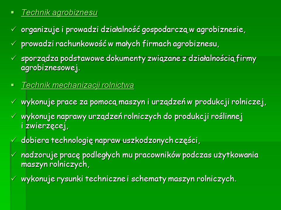  Technik agrobiznesu organizuje i prowadzi działalność gospodarczą w agrobiznesie, organizuje i prowadzi działalność gospodarczą w agrobiznesie, prow