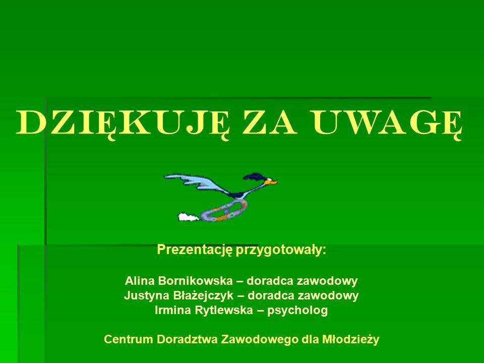 DZI Ę KUJ Ę ZA UWAG Ę Prezentację przygotowały: Alina Bornikowska – doradca zawodowy Justyna Błażejczyk – doradca zawodowy Irmina Rytlewska – psycholo