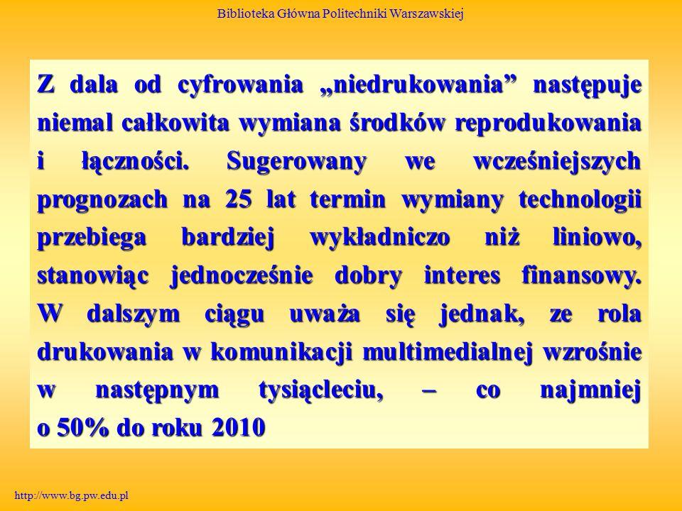 """Biblioteka Główna Politechniki Warszawskiej http://www.bg.pw.edu.pl Z dala od cyfrowania """"niedrukowania następuje niemal całkowita wymiana środków reprodukowania i łączności."""