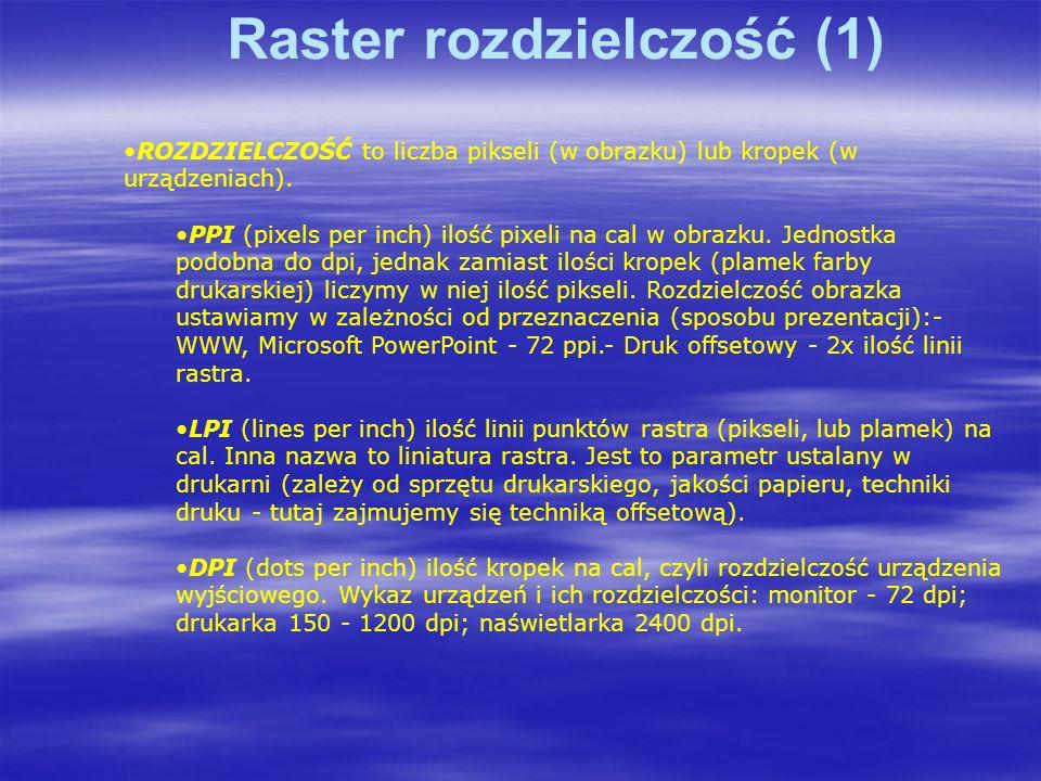 Raster rozdzielczość (1) ROZDZIELCZOŚĆ to liczba pikseli (w obrazku) lub kropek (w urządzeniach).