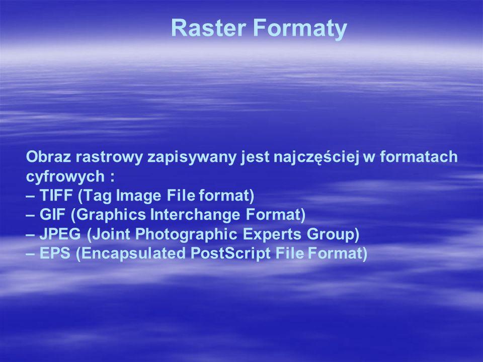 Obraz rastrowy zapisywany jest najczęściej w formatach cyfrowych : – TIFF (Tag Image File format) – GIF (Graphics Interchange Format) – JPEG (Joint Photographic Experts Group) – EPS (Encapsulated PostScript File Format) Raster Formaty