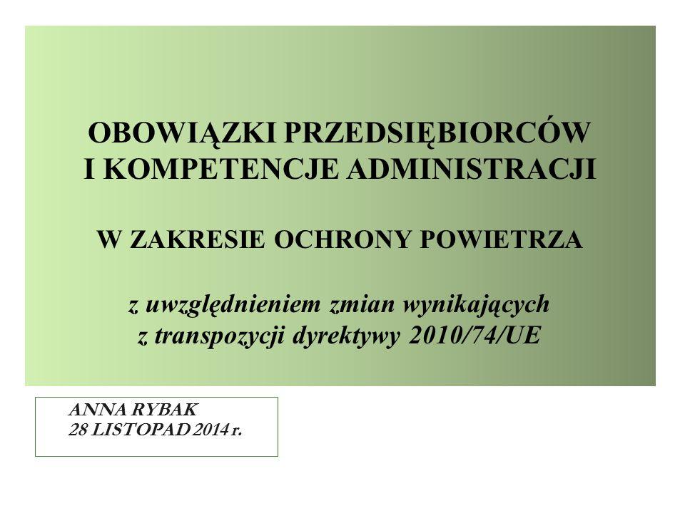 OBOWIĄZKI PRZEDSIĘBIORCÓW I KOMPETENCJE ADMINISTRACJI W ZAKRESIE OCHRONY POWIETRZA z uwzględnieniem zmian wynikających z transpozycji dyrektywy 2010/7