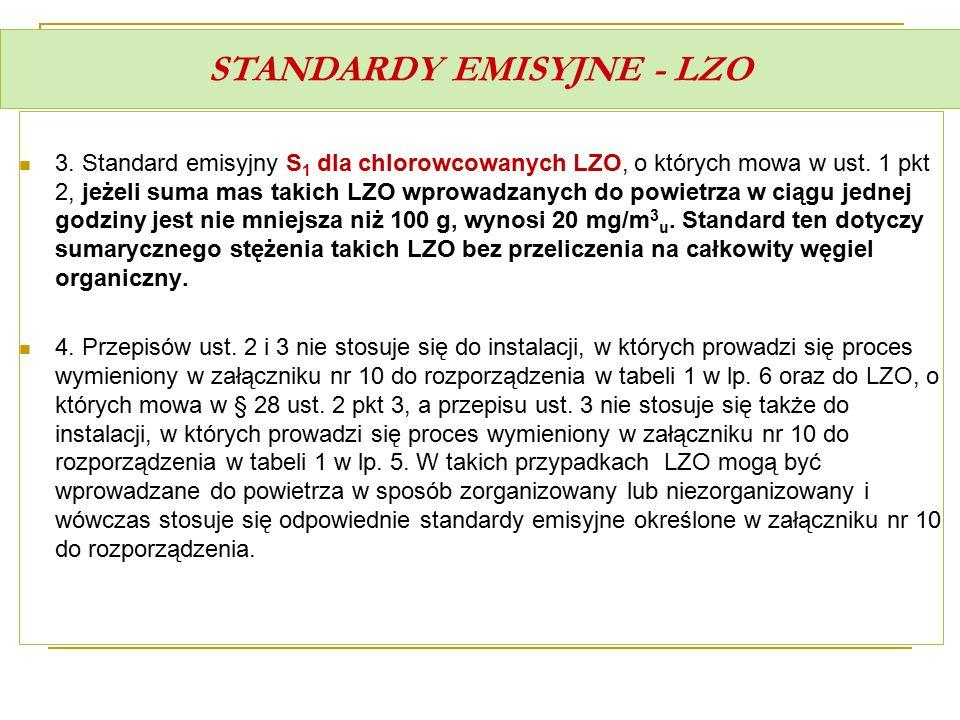 STANDARDY EMISYJNE - LZO 3. Standard emisyjny S 1 dla chlorowcowanych LZO, o których mowa w ust. 1 pkt 2, jeżeli suma mas takich LZO wprowadzanych do