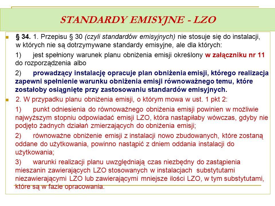 STANDARDY EMISYJNE - LZO § 34. 1. Przepisu § 30 (czyli standardów emisyjnych) nie stosuje się do instalacji, w których nie są dotrzymywane standardy e