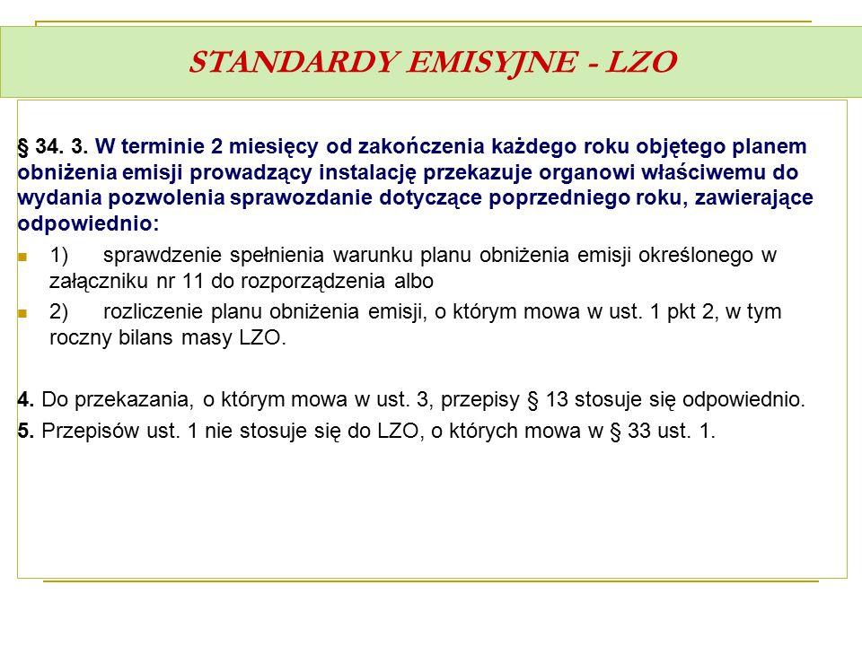 STANDARDY EMISYJNE - LZO § 34. 3. W terminie 2 miesięcy od zakończenia każdego roku objętego planem obniżenia emisji prowadzący instalację przekazuje
