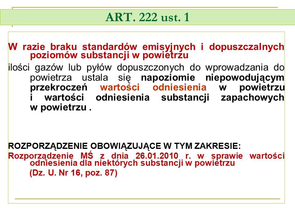 ART. 222 ust. 1 W razie braku standardów emisyjnych i dopuszczalnych poziomów substancji w powietrzu ilości gazów lub pyłów dopuszczonych do wprowadza