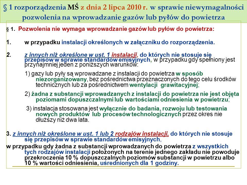 § 1 rozporządzenia MŚ z dnia 2 lipca 2010 r. w sprawie niewymagalności pozwolenia na wprowadzanie gazów lub pyłów do powietrza § 1. Pozwolenia nie wym