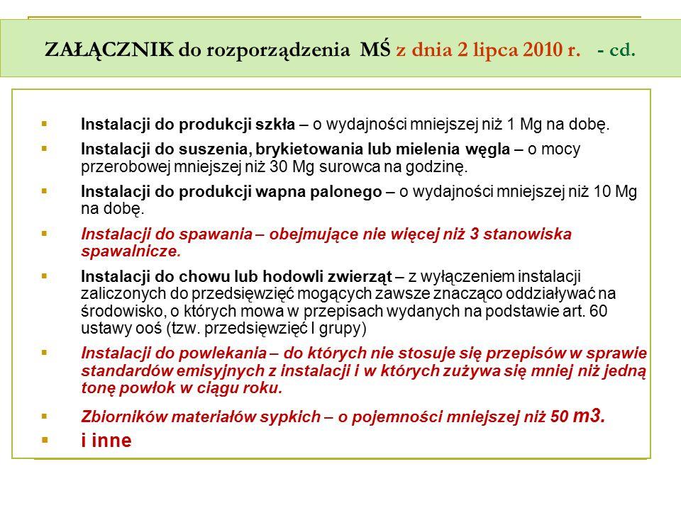 ZAŁĄCZNIK do rozporządzenia MŚ z dnia 2 lipca 2010 r. - cd.  Instalacji do produkcji szkła – o wydajności mniejszej niż 1 Mg na dobę.  Instalacji do