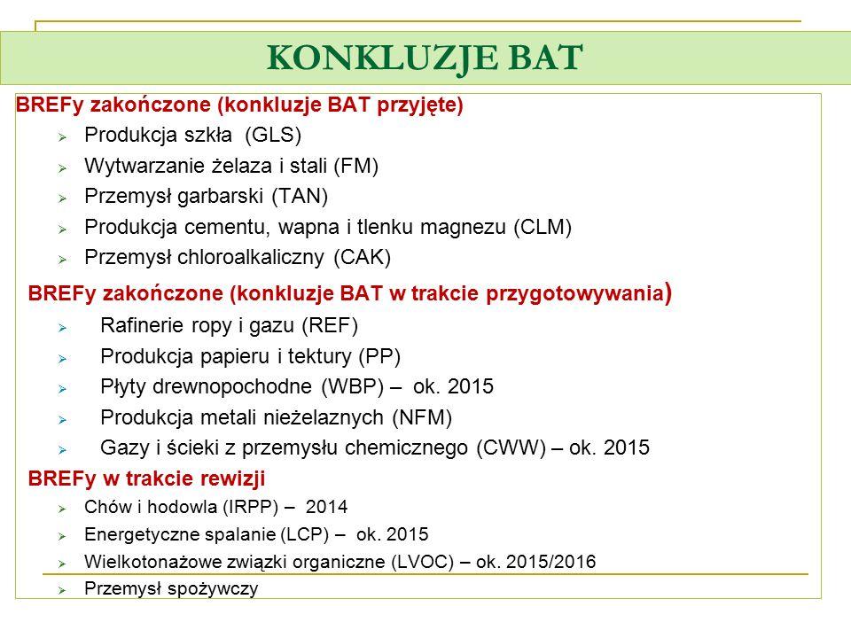 KONKLUZJE BAT BREFy zakończone (konkluzje BAT przyjęte)  Produkcja szkła (GLS)  Wytwarzanie żelaza i stali (FM)  Przemysł garbarski (TAN)  Produkc
