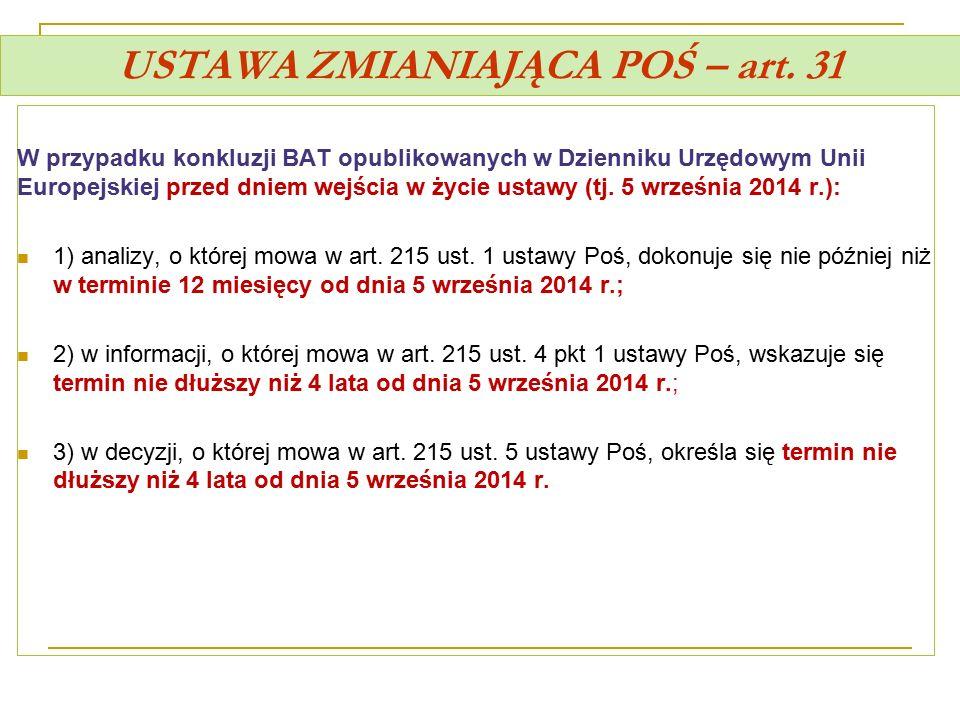 USTAWA ZMIANIAJĄCA POŚ – art. 31 W przypadku konkluzji BAT opublikowanych w Dzienniku Urzędowym Unii Europejskiej przed dniem wejścia w życie ustawy (