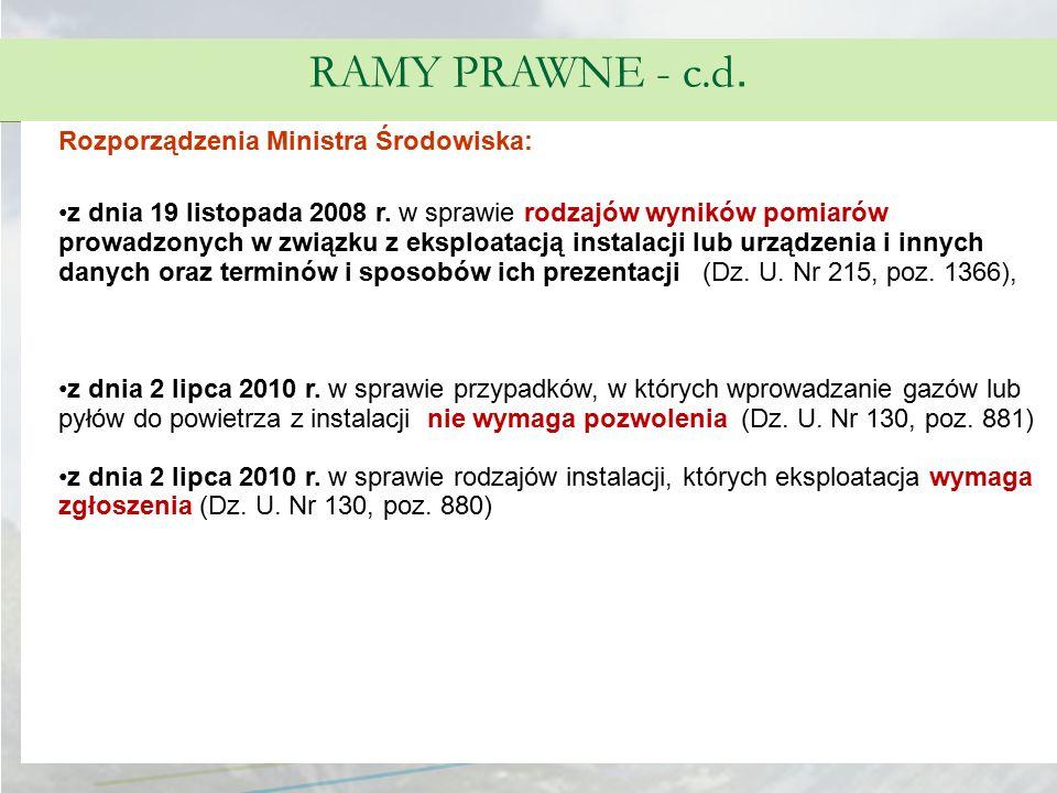 RAMY PRAWNE - c.d. Rozporządzenia Ministra Środowiska: z dnia 19 listopada 2008 r. w sprawie rodzajów wyników pomiarów prowadzonych w związku z eksplo