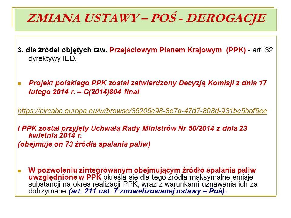 ZMIANA USTAWY – POŚ - DEROGACJE 3. dla źródeł objętych tzw. Przejściowym Planem Krajowym (PPK) - art. 32 dyrektywy IED. Projekt polskiego PPK został z