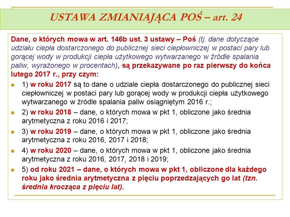 USTAWA ZMIANIAJĄCA POŚ – art. 24 Dane, o których mowa w art. 146b ust. 3 ustawy – Poś (tj. dane dotyczące udziału ciepła dostarczonego do publicznej s