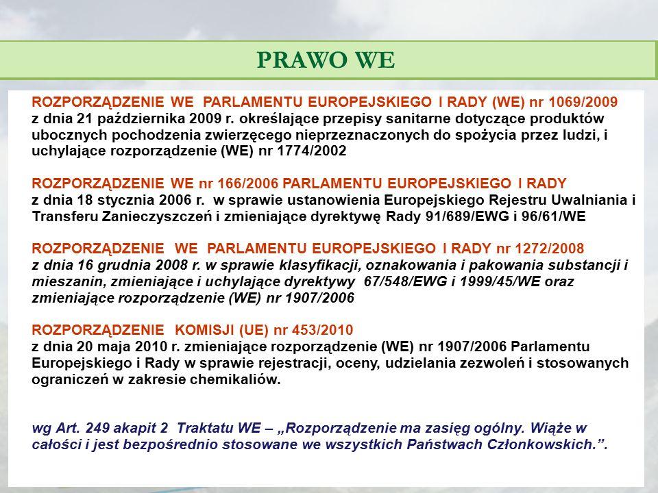 PRAWO WE ROZPORZĄDZENIE WE PARLAMENTU EUROPEJSKIEGO I RADY (WE) nr 1069/2009 z dnia 21 października 2009 r. określające przepisy sanitarne dotyczące p