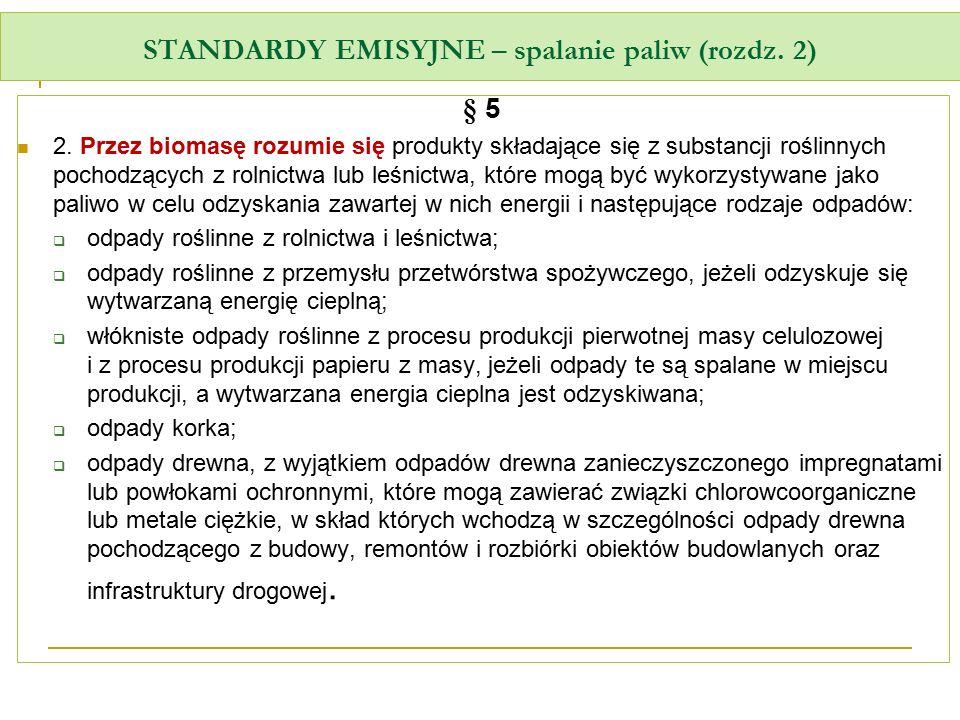 STANDARDY EMISYJNE – spalanie paliw (rozdz. 2) § 5 2. Przez biomasę rozumie się produkty składające się z substancji roślinnych pochodzących z rolnict