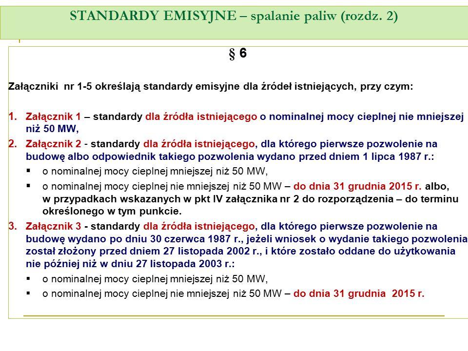 STANDARDY EMISYJNE – spalanie paliw (rozdz. 2) § 6 Załączniki nr 1-5 określają standardy emisyjne dla źródeł istniejących, przy czym: 1. Załącznik 1 –