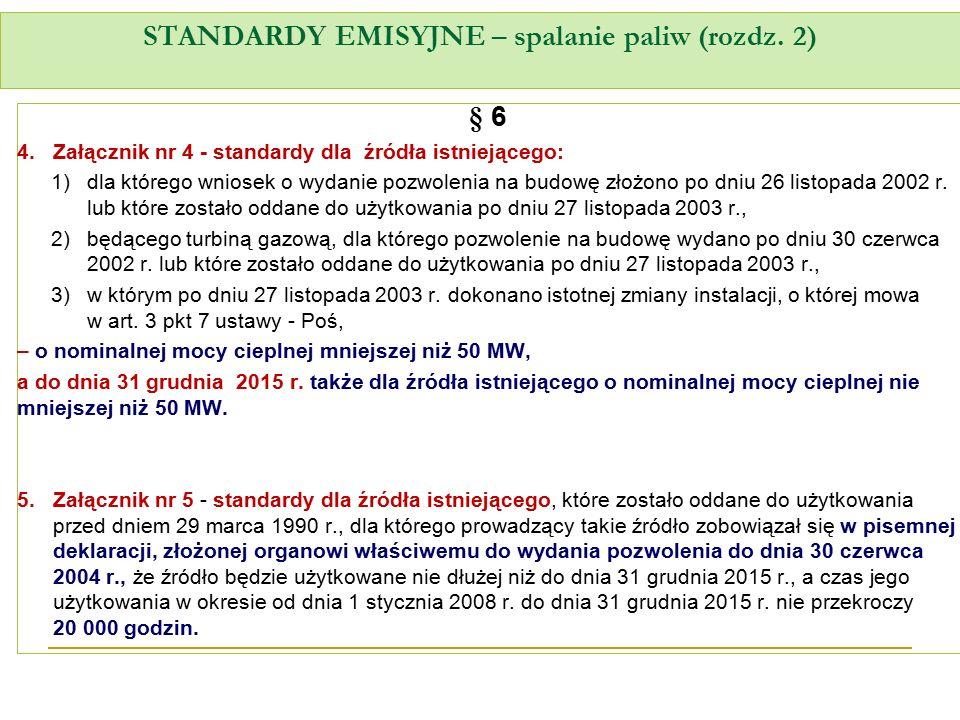 STANDARDY EMISYJNE – spalanie paliw (rozdz. 2) § 6 4.Załącznik nr 4 - standardy dla źródła istniejącego: 1)dla którego wniosek o wydanie pozwolenia na