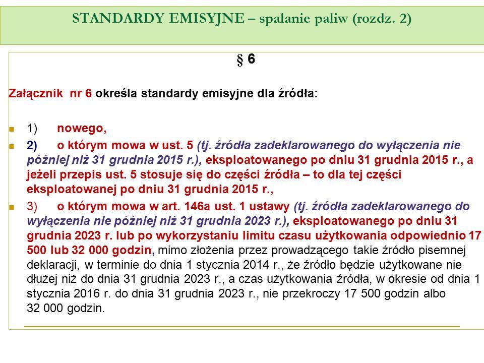 STANDARDY EMISYJNE – spalanie paliw (rozdz. 2) § 6 Załącznik nr 6 określa standardy emisyjne dla źródła: 1)nowego, 2)o którym mowa w ust. 5 (tj. źródł