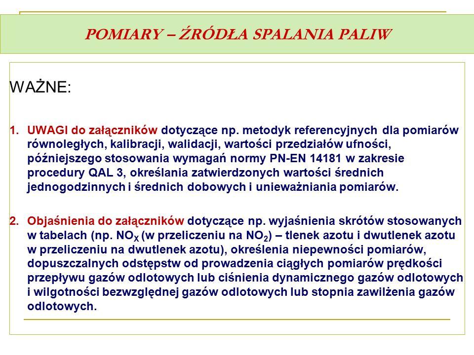 POMIARY – ŹRÓDŁA SPALANIA PALIW WAŻNE: 1.UWAGI do załączników dotyczące np. metodyk referencyjnych dla pomiarów równoległych, kalibracji, walidacji, w