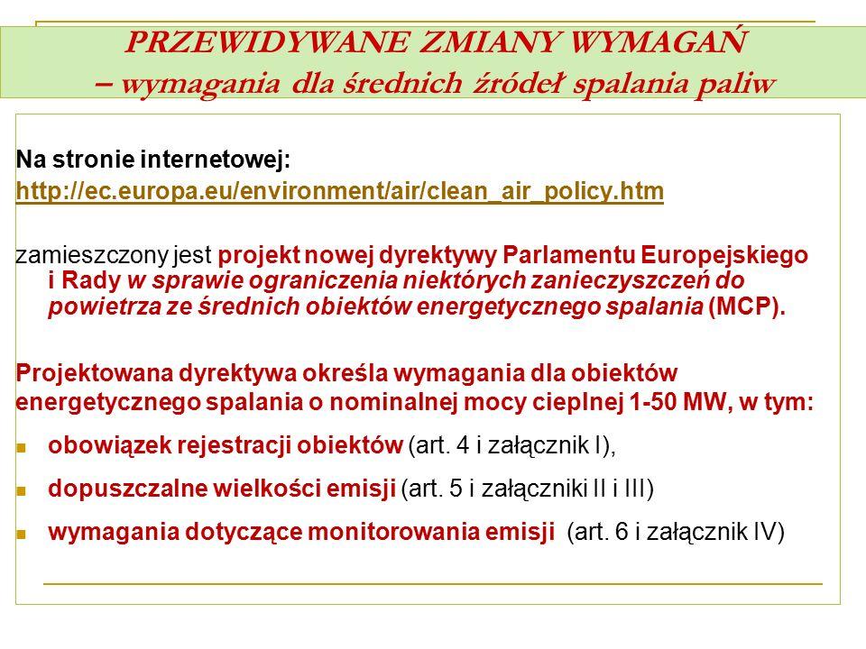 PRZEWIDYWANE ZMIANY WYMAGAŃ – wymagania dla średnich źródeł spalania paliw Na stronie internetowej: http://ec.europa.eu/environment/air/clean_air_poli