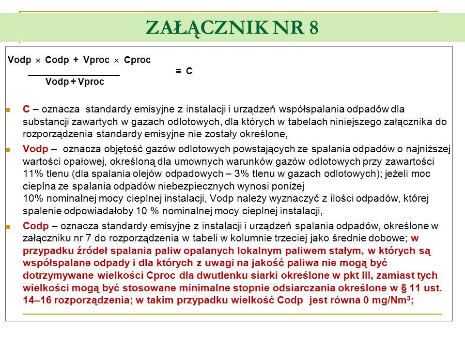 ZAŁĄCZNIK NR 8 Vodp  Codp + Vproc  Cproc = C Vodp + Vproc C – oznacza standardy emisyjne z instalacji i urządzeń współspalania odpadów dla substancj