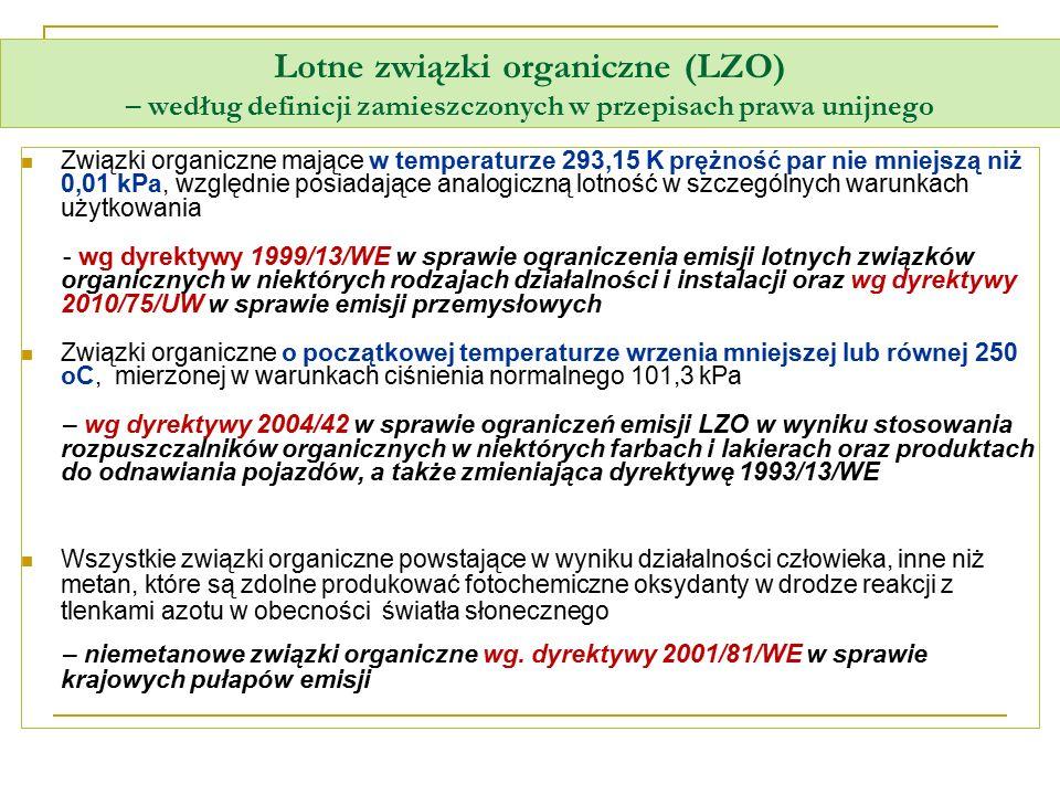 Lotne związki organiczne (LZO) – według definicji zamieszczonych w przepisach prawa unijnego Związki organiczne mające w temperaturze 293,15 K prężnoś