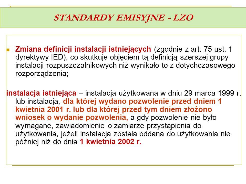 STANDARDY EMISYJNE - LZO Zmiana definicji instalacji istniejących (zgodnie z art. 75 ust. 1 dyrektywy IED), co skutkuje objęciem tą definicją szerszej