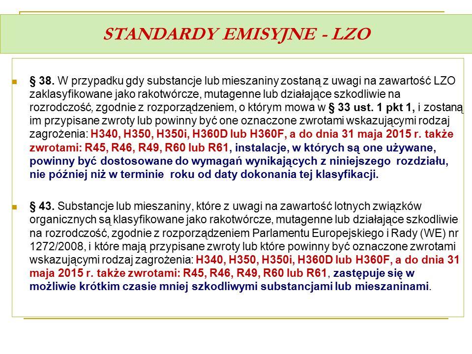 STANDARDY EMISYJNE - LZO § 38. W przypadku gdy substancje lub mieszaniny zostaną z uwagi na zawartość LZO zaklasyfikowane jako rakotwórcze, mutagenne