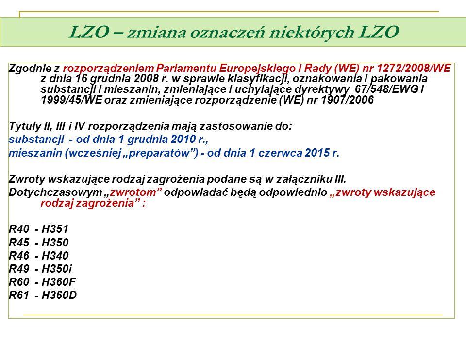 LZO – zmiana oznaczeń niektórych LZO Zgodnie z rozporządzeniem Parlamentu Europejskiego i Rady (WE) nr 1272/2008/WE z dnia 16 grudnia 2008 r. w sprawi