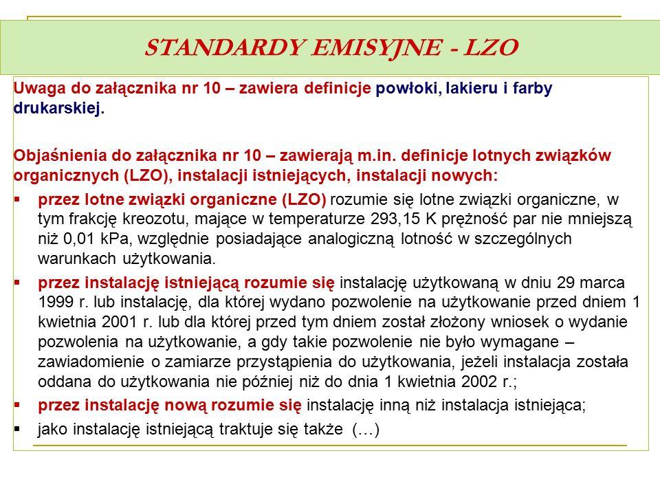 STANDARDY EMISYJNE - LZO Uwaga do załącznika nr 10 – zawiera definicje powłoki, lakieru i farby drukarskiej. Objaśnienia do załącznika nr 10 – zawiera