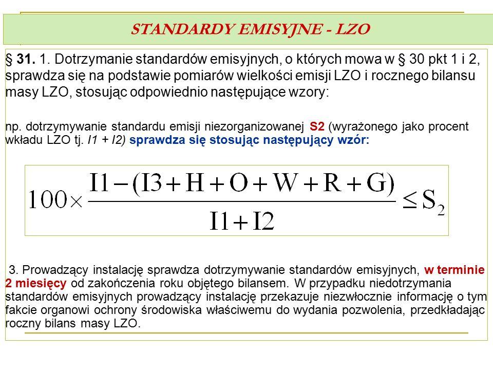 STANDARDY EMISYJNE - LZO § 31. 1. Dotrzymanie standardów emisyjnych, o których mowa w § 30 pkt 1 i 2, sprawdza się na podstawie pomiarów wielkości emi