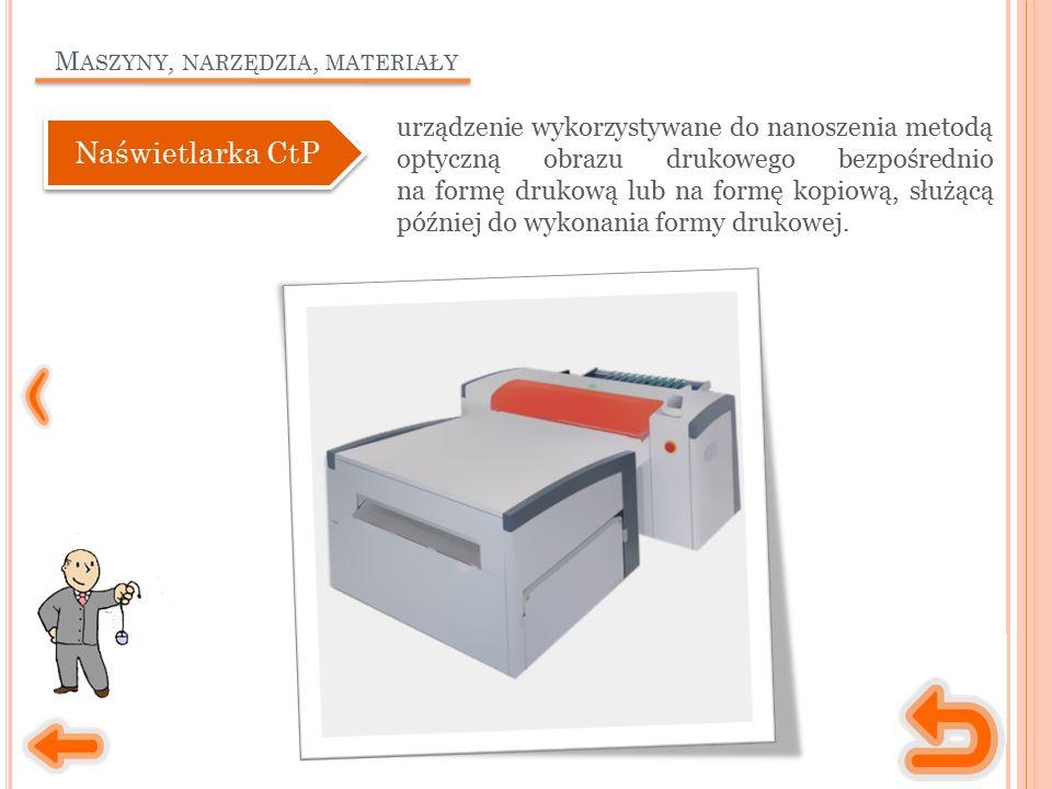 M ASZYNY, NARZĘDZIA, MATERIAŁY urządzenie wykorzystywane do nanoszenia metodą optyczną obrazu drukowego bezpośrednio na formę drukową lub na formę kop