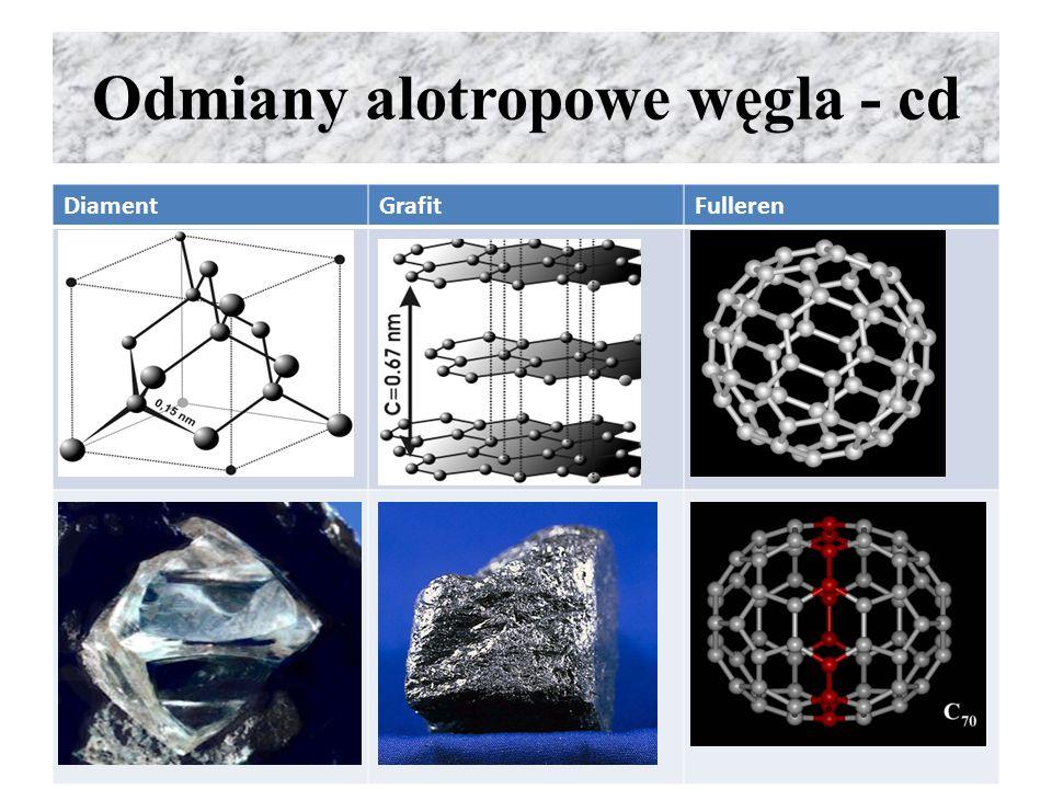 Właściwości węgla Reakcje węgla z tlenem – grafit jest bardziej reaktywny niż diament, niezależnie od odmiany alotropowej spala się: 2C + O 2  2CO C + O 2  CO 2 Węgiel w podwyższonej temp.