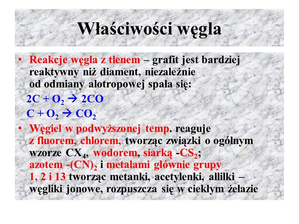 Właściwości węgla Reakcje węgla z tlenem – grafit jest bardziej reaktywny niż diament, niezależnie od odmiany alotropowej spala się: 2C + O 2  2CO C