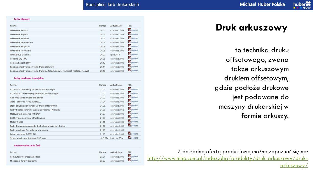 Z dokładną ofertą produktową można zapoznać się na: http://www.mhp.com.pl/index.php/produkty/druk-arkuszowy/druk- arkuszowy/ http://www.mhp.com.pl/index.php/produkty/druk-arkuszowy/druk- arkuszowy/ Druk arkuszowy to technika druku offsetowego, zwana także arkuszowym drukiem offsetowym, gdzie podłoże drukowe jest podawane do maszyny drukarskiej w formie arkuszy.