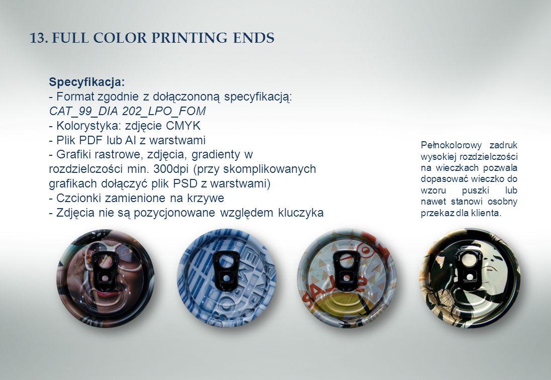 13. FULL COLOR PRINTING ENDS Specyfikacja: - Format zgodnie z dołączononą specyfikacją: CAT_99_DIA 202_LPO_FOM - Kolorystyka: zdjęcie CMYK - Plik PDF