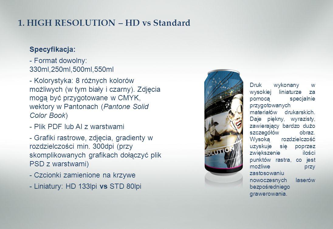 1. HIGH RESOLUTION – HD vs Standard Specyfikacja: - Format dowolny: 330ml,250ml,500ml,550ml - Kolorystyka: 8 różnych kolorów możliwych (w tym biały i
