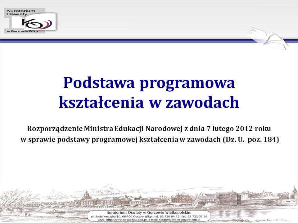 Podstawa programowa kształcenia w zawodach Rozporządzenie Ministra Edukacji Narodowej z dnia 7 lutego 2012 roku w sprawie podstawy programowej kształcenia w zawodach (Dz.