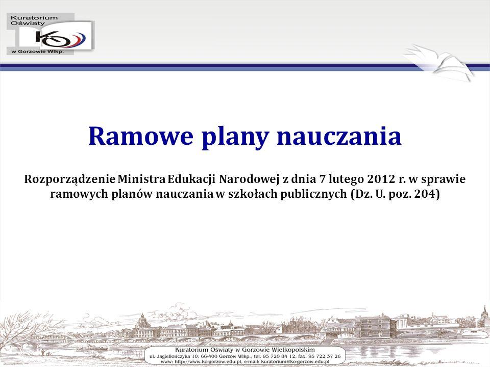 Ramowe plany nauczania Rozporządzenie Ministra Edukacji Narodowej z dnia 7 lutego 2012 r.