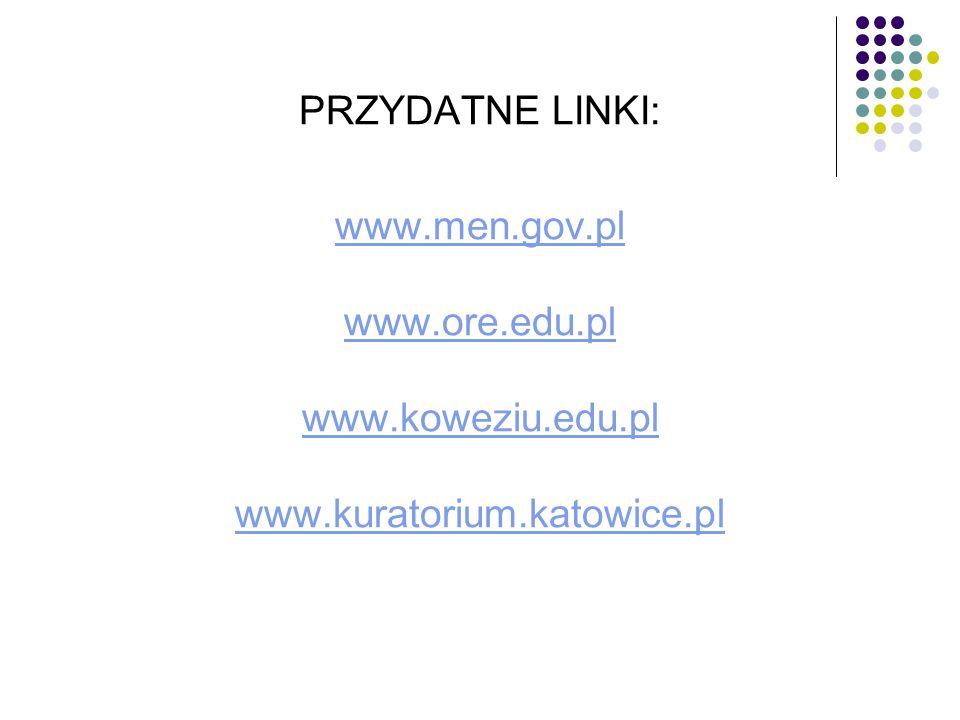 PRZYDATNE LINKI: www.men.gov.pl www.ore.edu.pl www.koweziu.edu.pl www.kuratorium.katowice.pl