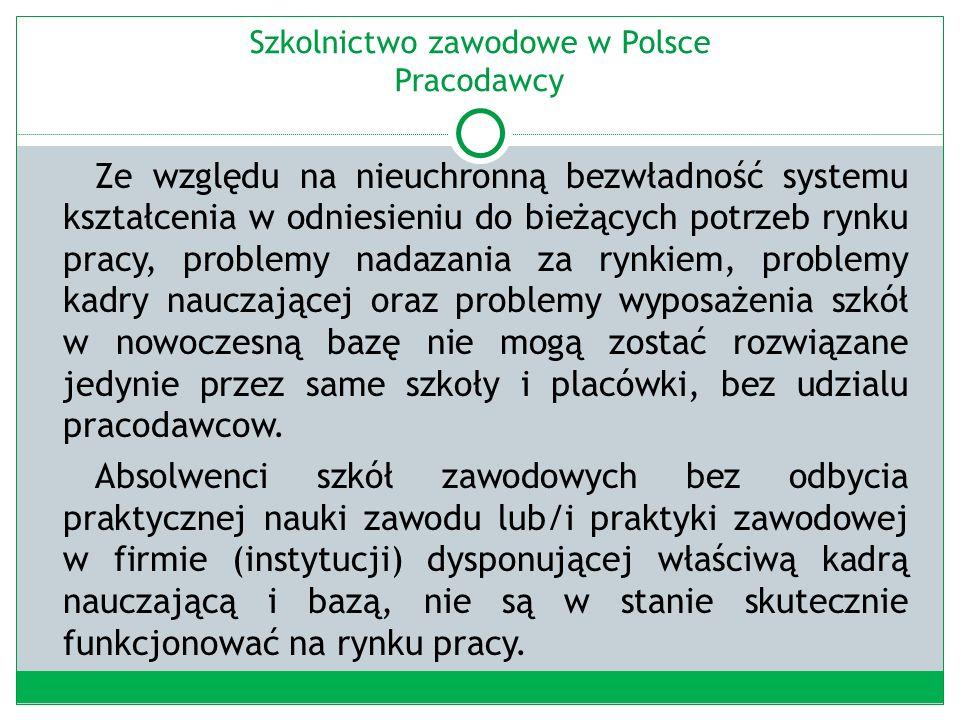 Szkolnictwo zawodowe w Polsce Pracodawcy Ze względu na nieuchronną bezwładność systemu kształcenia w odniesieniu do bieżących potrzeb rynku pracy, problemy nadazania za rynkiem, problemy kadry nauczającej oraz problemy wyposażenia szkół w nowoczesną bazę nie mogą zostać rozwiązane jedynie przez same szkoły i placówki, bez udzialu pracodawcow.